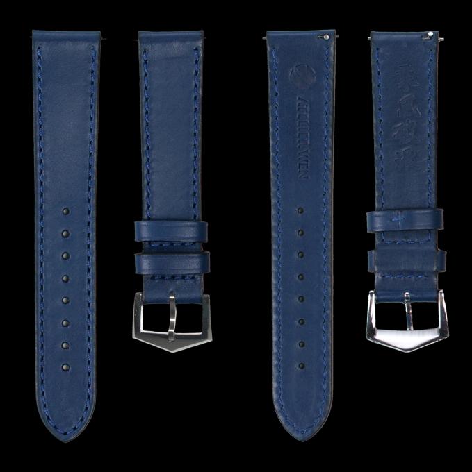 """Bracelet par défaut: cuir de veau bleu """" top grain """" (côté interne et externe)"""