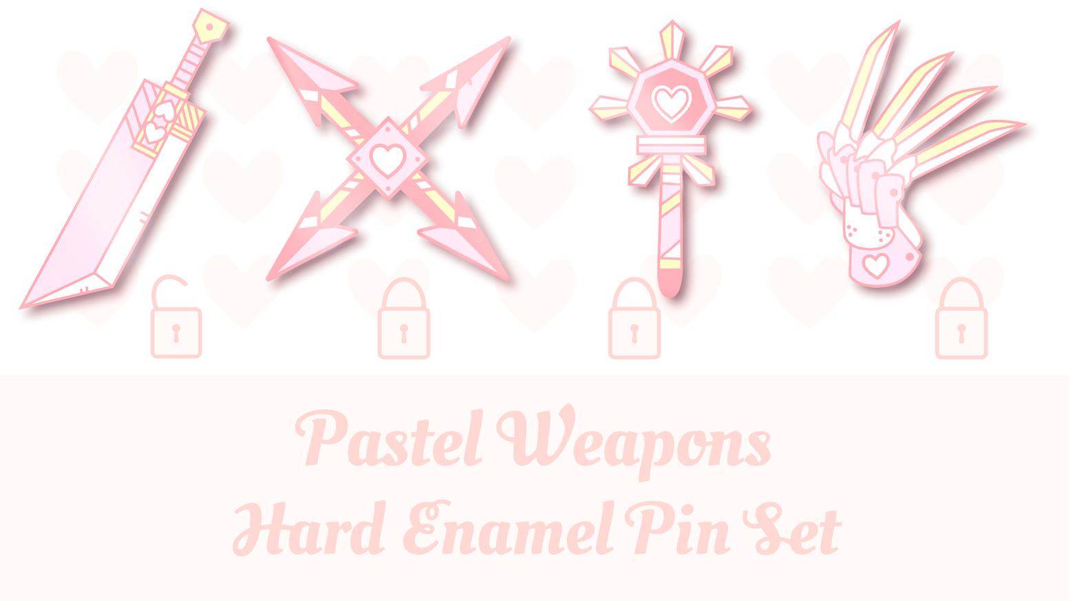 Kawaii Pastel Fantasy RPG Weapons: Hard Enamel Pin Set by