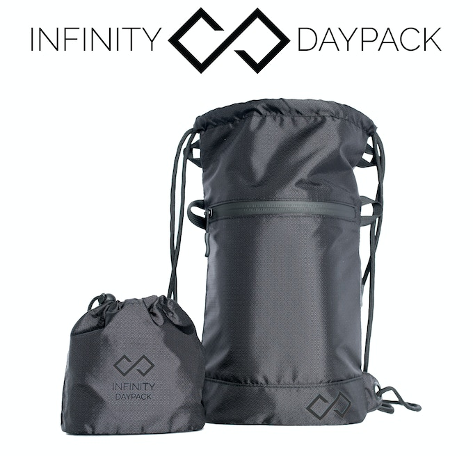 The Infinity Daypack comes in a small cinch sack packaging.