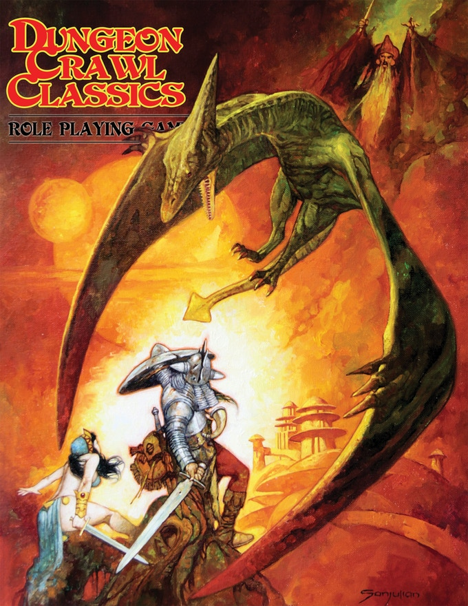 The pterodactyl-wizard cover to the DCC core rulebook! By Sanjulian