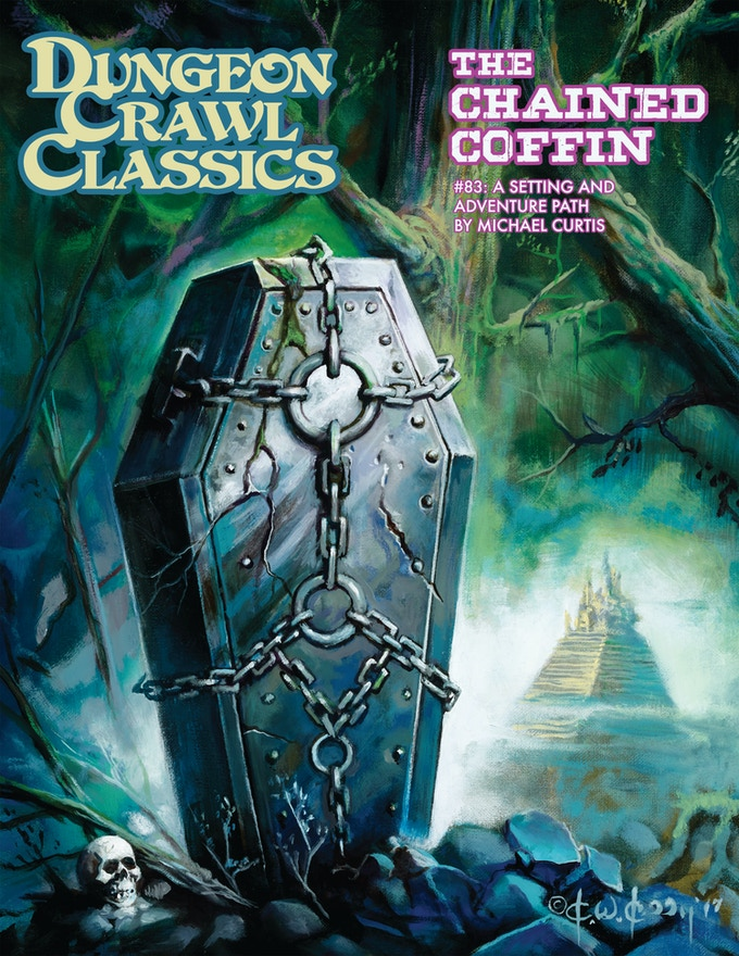 The hardcover 2nd printing of DCC #83: The Chained Coffin. Cover art by Ken Kelly