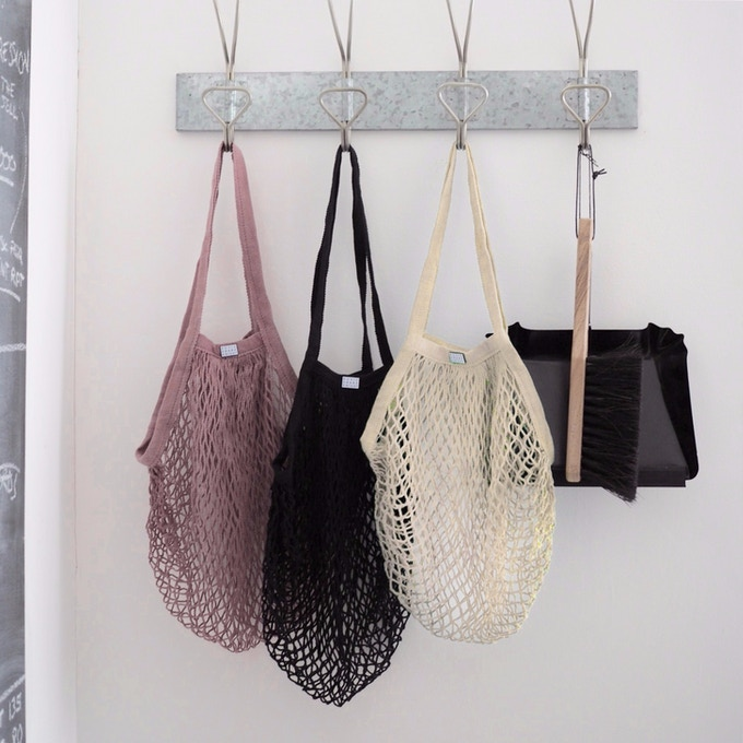 Black and Natural Cotton Mesh Bags