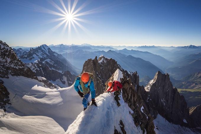 Sunrise on the Innominata ridge, Mont Blanc