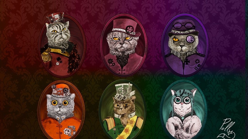 Project image for AWESOME CAT STEAMPUNK STICKERS & PINS