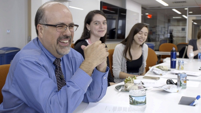 Physician and celebrated poet Rafael Campo leads medical students in a writing seminar at Harvard Medical School.