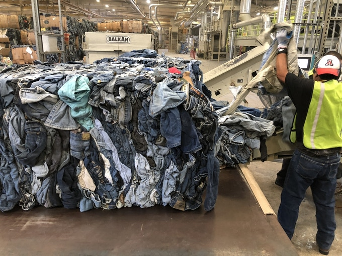 By using recycled denim we reduce our nation's landfills  and through a closed loop recycling process, new products are created, further conserving our natural resources.