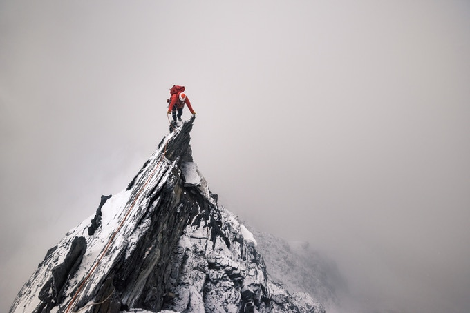 Tom Coney on the Taschhorn - Dom traverse