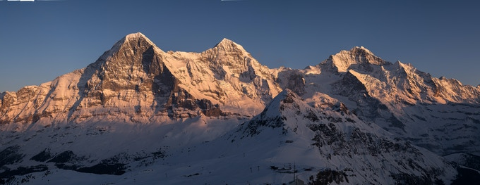 Eiger, Monch and Jungfrau at sunset