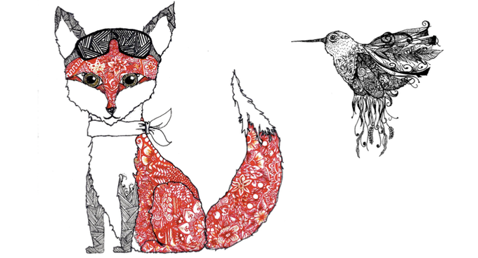 Harriet the Flying Fox and Hummingbird by Ara Holiday