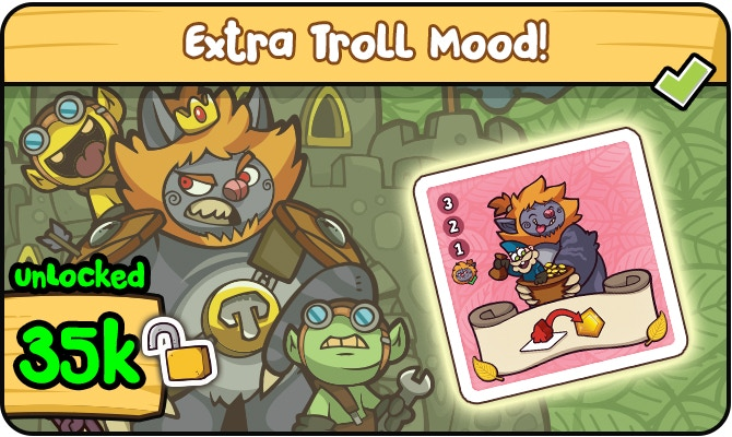 If you have at least one Dwarf on the same tile as the Troll get a free Gold Gem!