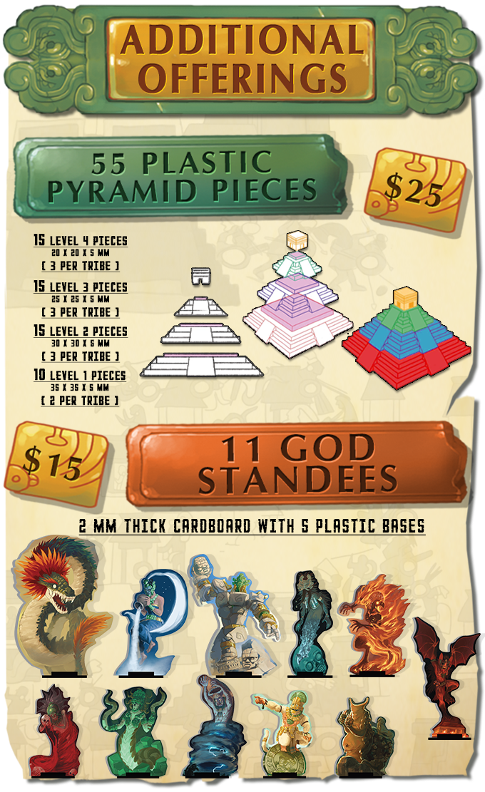 The pyramid add-on is perfect for those that wish to elevate the game's already impressive table presence even further! Standees are also available for those that pledge at the CHIEFTAIN or DEVOTED levels.