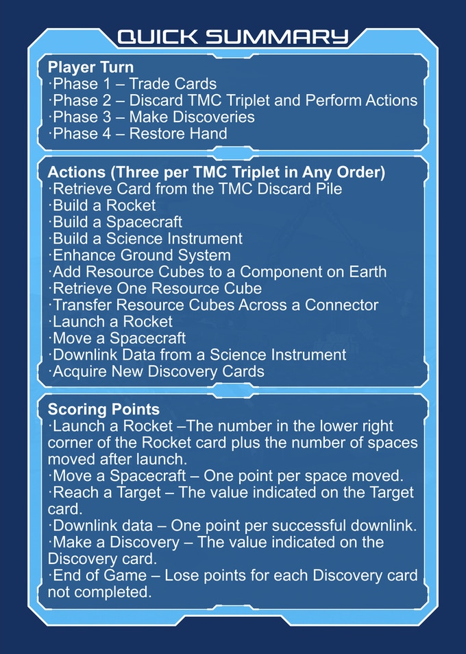 Quick Summary cards provide an easy reference for players