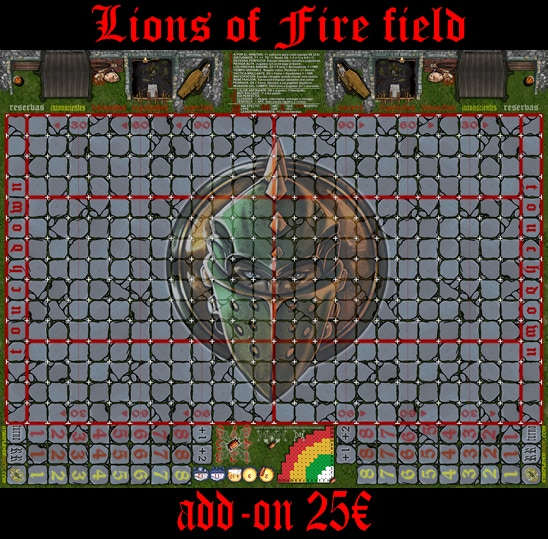 Lions of Fire Field 34mm. Available in Spanish, English, French and Italian. Printed on high quality canvas.