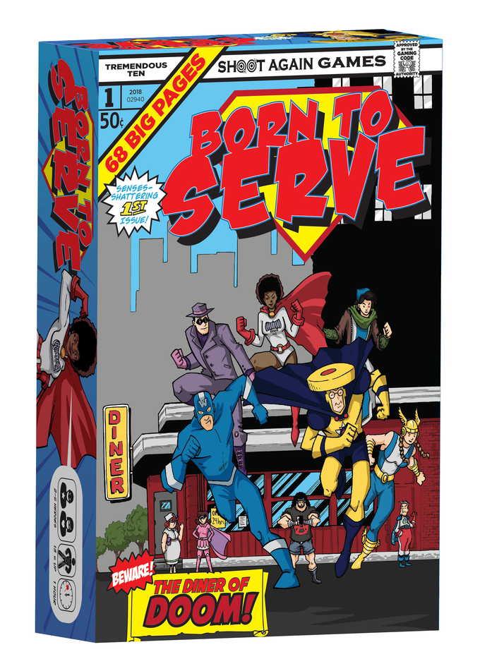 Born to Serve is a game for 2-5 jobless superheroes competing for the last job in town at the local diner.