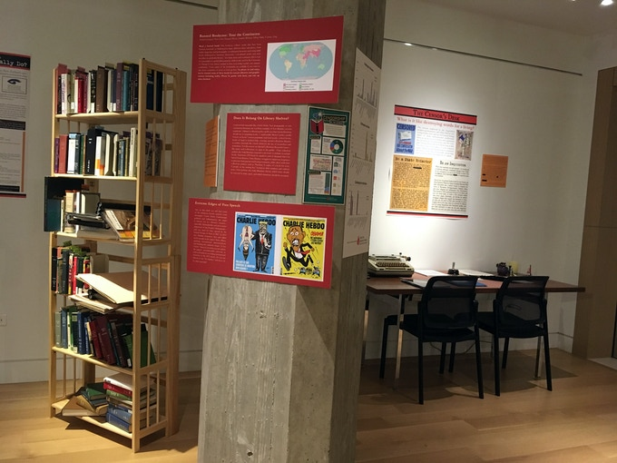 """Left: our """"Banned Bookcase Tour of the Continents."""" Right: our """"Censor's Desk."""""""