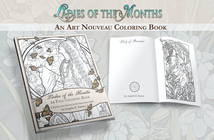 A coloring book inspired by the birthstones and flowers for each month of the year fashioned in the elegant style of Art Nouveau.