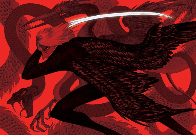 'The Red Eye Serpent' by Naomi Butterfield, double page illustration spread