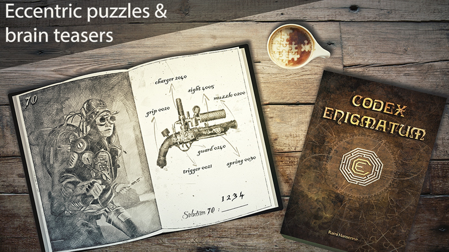 Codex Enigmatum is an immersive and richly illustrated puzzle book, filled with a diverse mix of unique and interrelated brain teasers