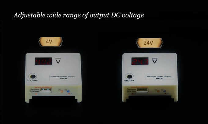MEGO: 4V-24V Breadboard Compatible Portable Power Supply by