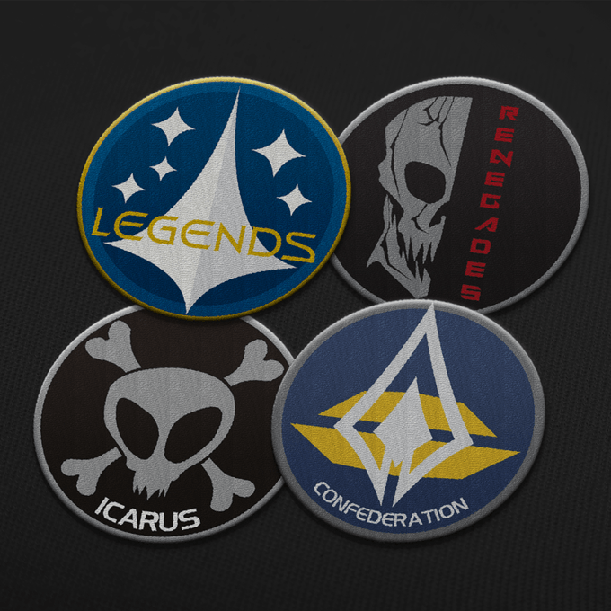 """Renegades, Icarus, Legends, and Confederation patches, available in the """"Renegades Special"""" rewards."""