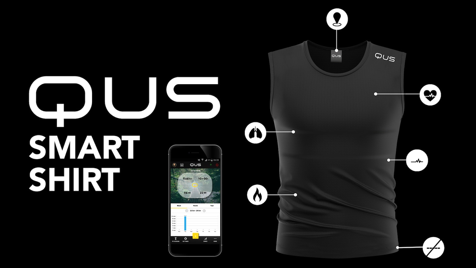 QUS is the world´s first washable smart textile that provides accurate body data capturing.
