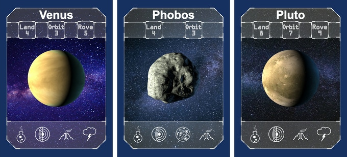 Target Cards - In each game, three solar system targets are identified for exploration