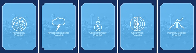 Downlink Cards - Represent the five disciplines of science in the game. Match a science instrument to an eligible science symbol on the target card to downlink data