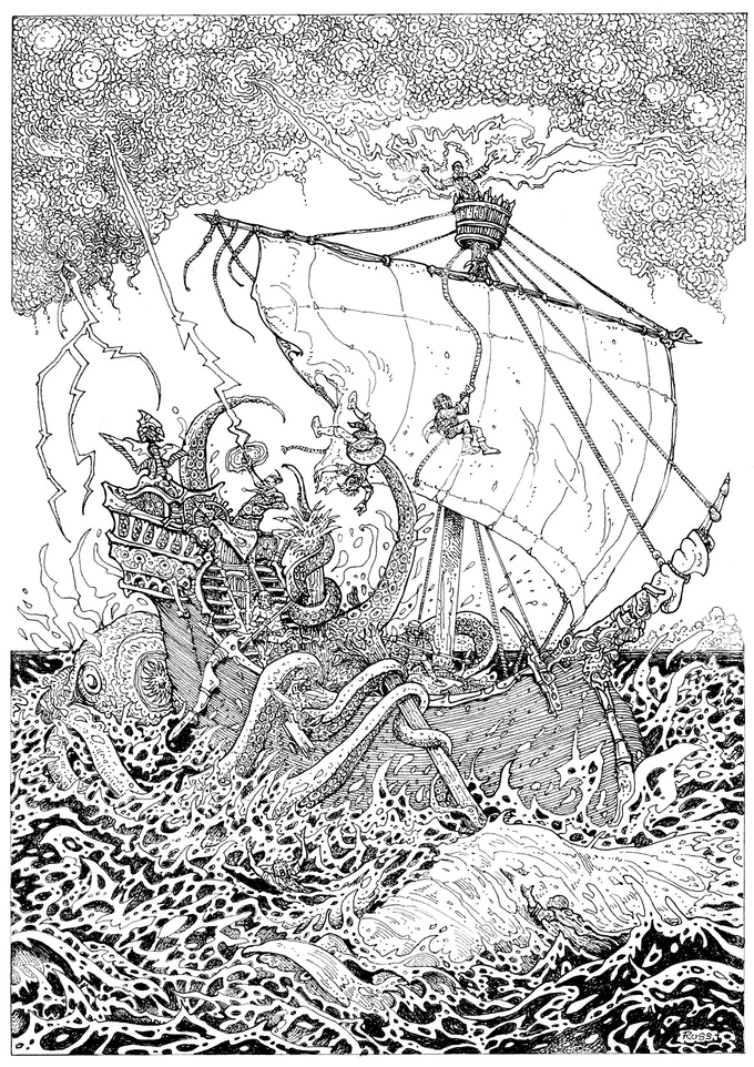 Hyperborea Players' Manual art by Russ Nicholson