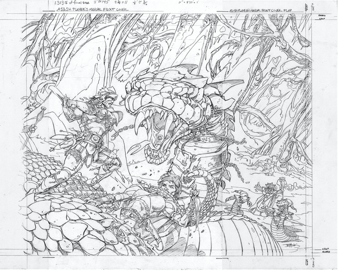 Hyperborea Players' Manual front cover pencils by Val Semeiks