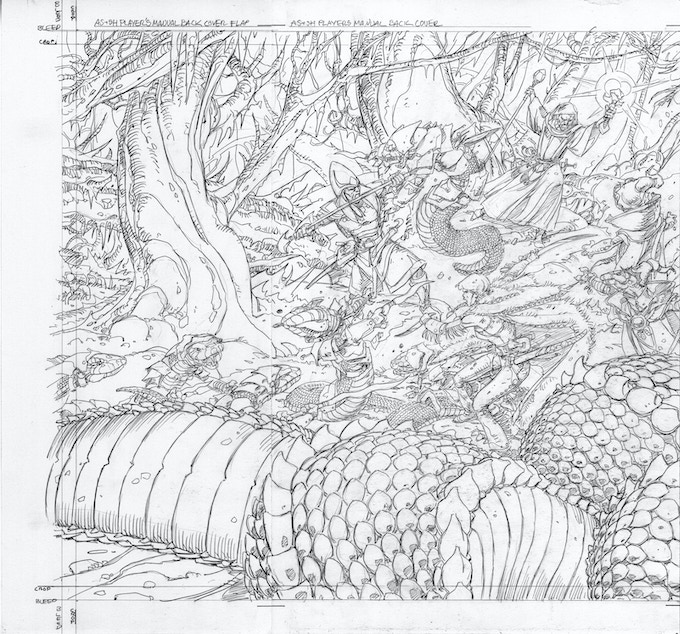 Hyperborea Players' Manual back cover pencils by Val Semeiks
