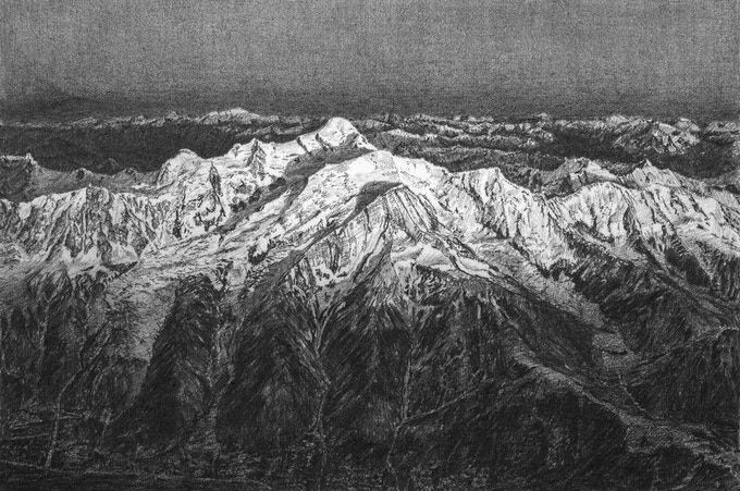 Mont Blanc North Face Drawing (15 x 10 cm)