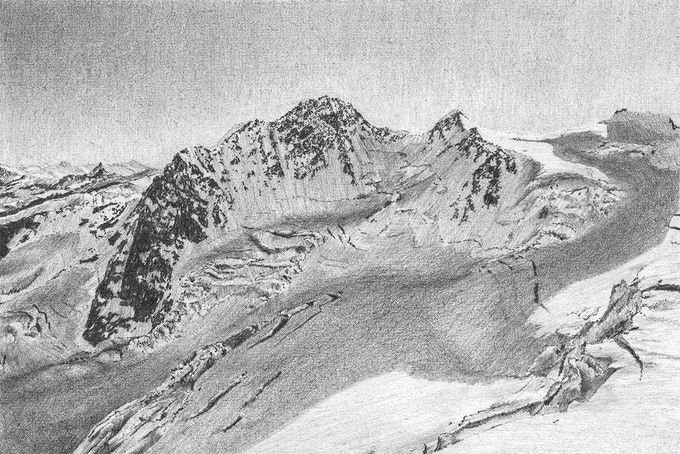Monte Rosa (South-West face) drawing (15 x 10 cm)