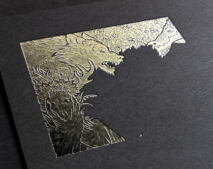 Sample of gold foiling effect that will feature on the cover.