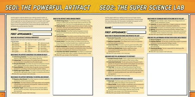 A spread from the setting book included with the game.