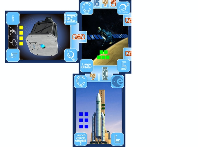 Players spend their resource cubes to build rockets, spacecraft, and instruments. Blue has built the Ariane-5 Rocket, green built the Large Orbiter, and yellow added the Lidar Science Instrument.