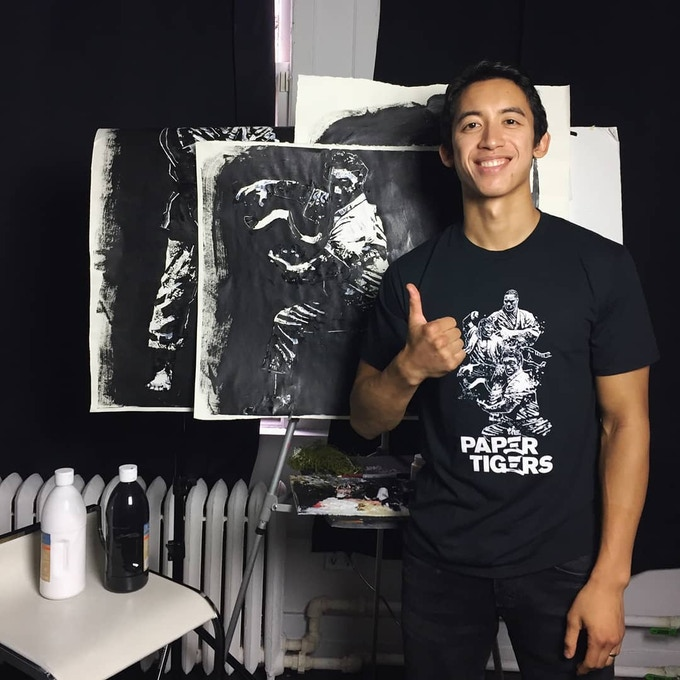 Gian Galang rocking his art on the limited edition T-Shirt (available for pledges starting at $99)