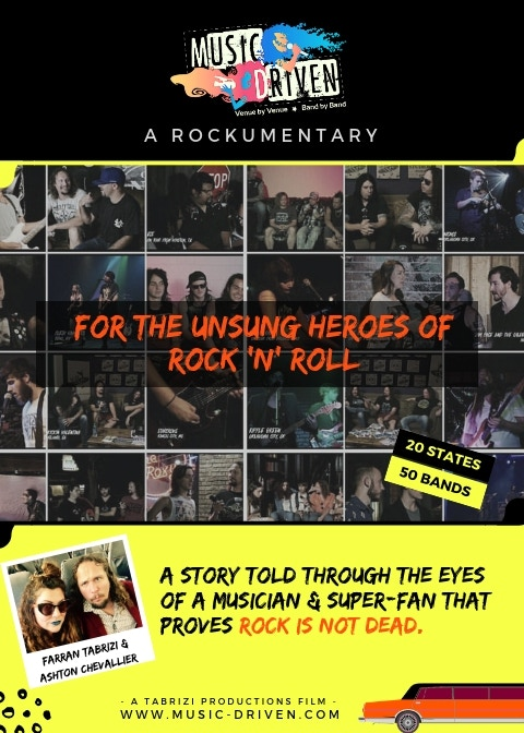 Music Driven is about travelling across the country finding the local bars, clubs, bands, promoters, and fans that keep rock alive.