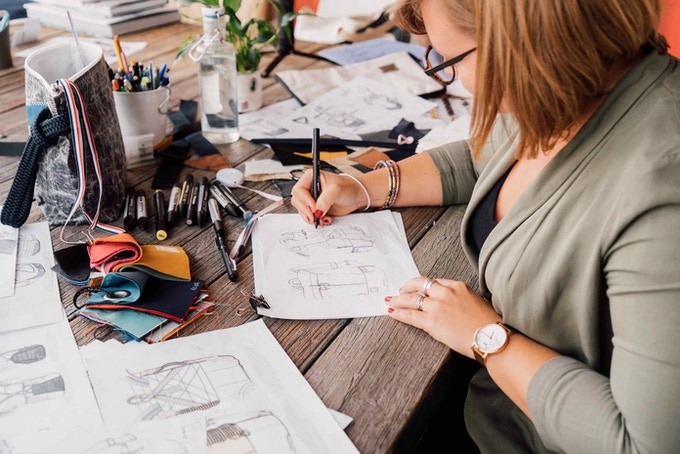 Lea, our designer, sketching the Dinghy Backpack.