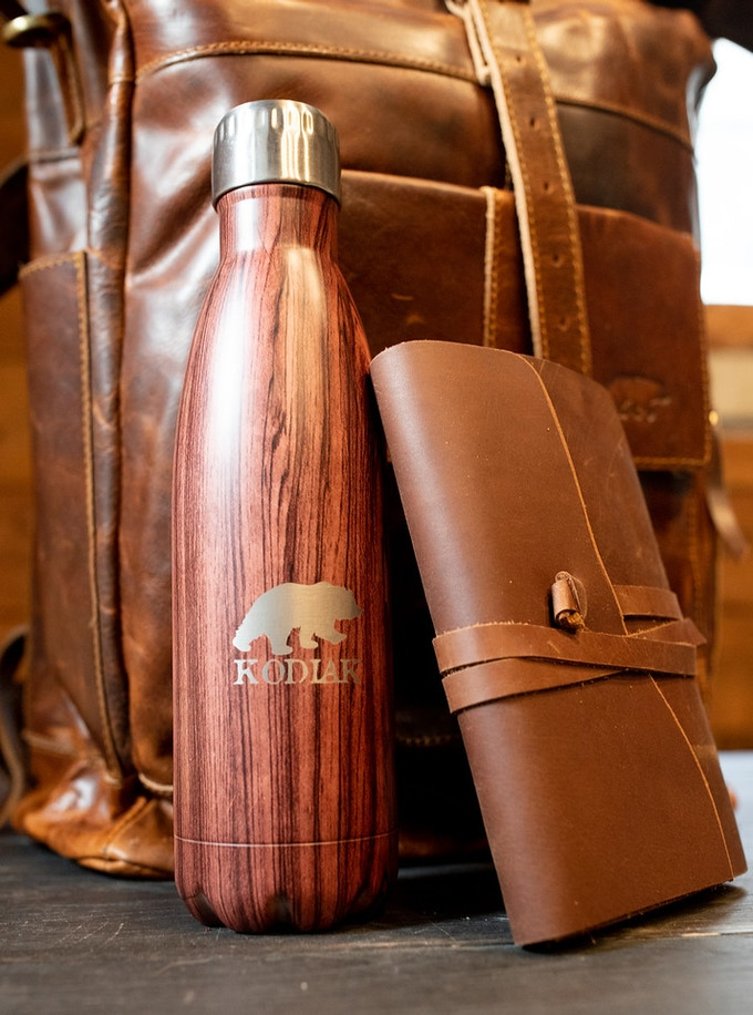 This reward includes the Kobuk Backpack, the Wanderer Journal, and a 17 oz. stainless steel water bottle