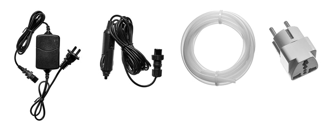 Power supply unit with a long 15 ft power supply cable, an additional 15 ft cable for connecting to a car lighter, 7 ft silicone hose for dry-cleaning ozone supply, an outlet converter