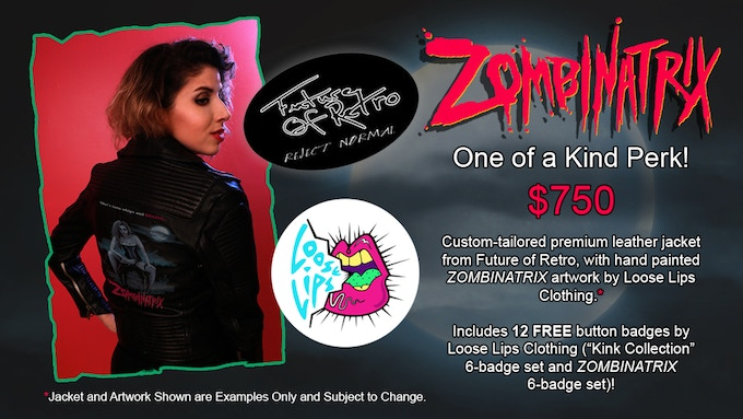 CUSTOMIZED FUTURE OF RETRO LEATHER JACKET FEATURING HAND-PAINTED ZOMBINATRIX ARTWORK + 12 FREE BUTTON BADGES!