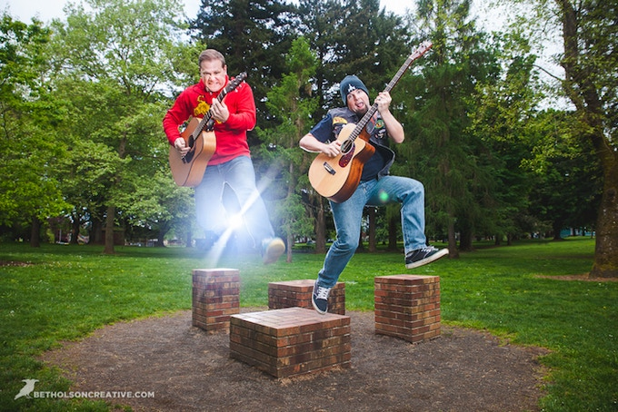 """""""Megathruster's """"20-Sided Vice"""" is a fun, funny first album that covers a wide range of interests. Described as """"Jonathan Coulton meets Tenacious D,"""" this acoustic-rock duo has plenty to offer any nerd music fan that doesn't mind a bit of blue-collar humor."""" – The Unheard Nerd"""