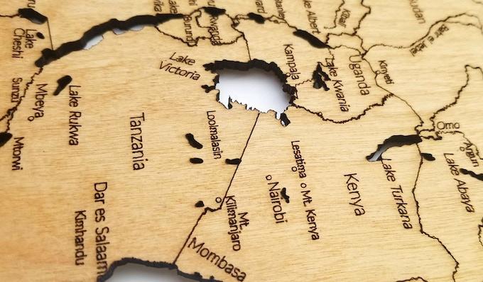 """Africa (23"""" x 35""""), Engraving Detail"""