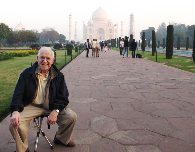 Roland enjoying a moment while traveling in India.