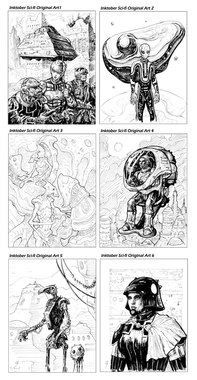 Inktober Original Sci-Fi Art Rewards