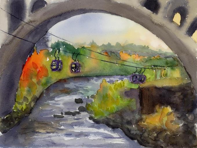 #1 Autumnal Gondolas Crossing the Spokane River