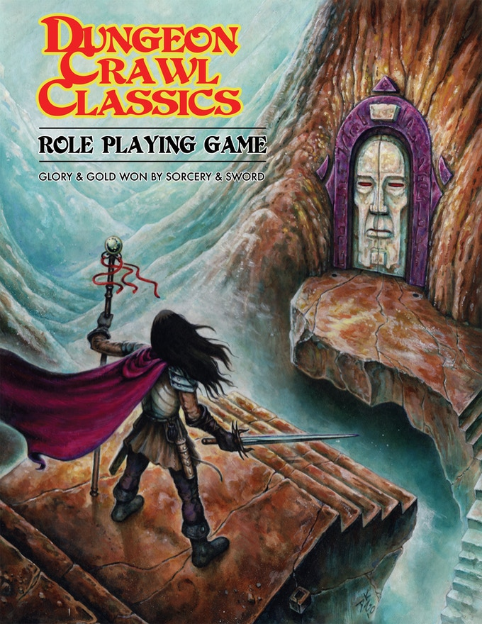 "The original ""blue cover"" edition of DCC RPG core rulebook. By Doug Kovacs"