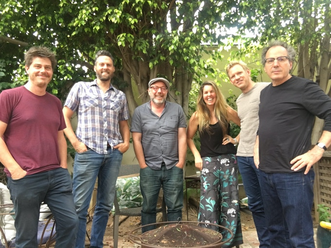 LA Studio team L-R: Engineer extraordinaire David Boucher; Bass player Kaveh Rastegar (John Legend, Sia); Guitarist Adam Levy (Norah Jones); Me; Drummer Ted Poor (Andrew Bird) and producer Mitchell Froom, who also played all the keyboards on the record