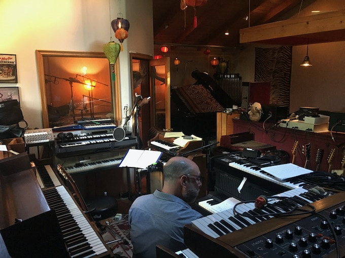 A few of Mitchell's keyboards...
