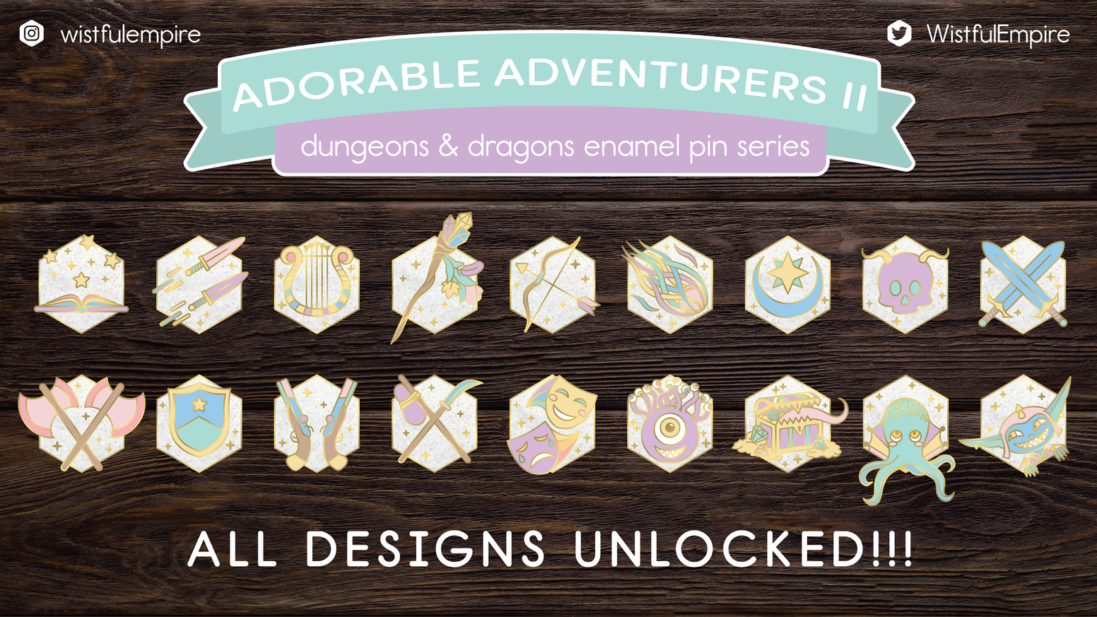A series of pastel Dungeons & Dragons character class and monster hard enamel pins.